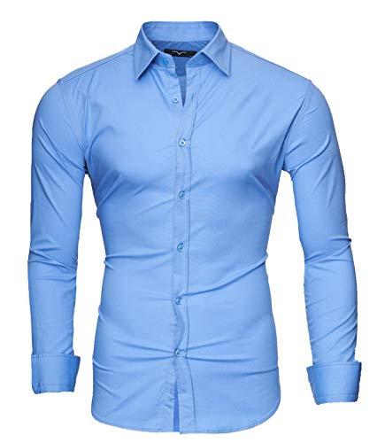 Kayhan Hombre Camisa, Uni Langarmhemd Light Blue XXL