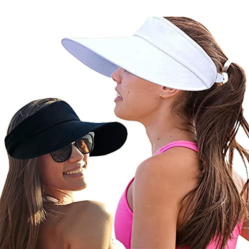 2PCS Wide Brim Sun Visor Hat Women Large UV Protective Golf Beach Cap, Design in Korea