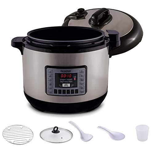 NUWAVE NUTRI-POT 13-Quart DIGITAL PRESSURE COOKER with Sure-Lock Safety System; Dishwasher-Safe Non-Stick Inner Pot; Glass Lid for Slow Cooking; Cooking Rack, 11 Pre-Programmed Presets; Detachable Pressure Pot Lid for Easy Cleaning;