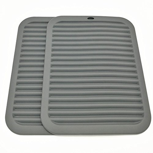 """Silicone Trivets Smithcraft Premium 9""""X12"""" Big for Hot Dishes,Pots and Pans - Waterproof Trivet mat, (Set of 2) Color Gray"""