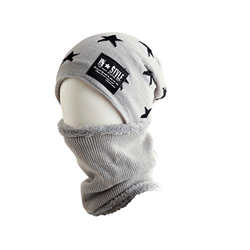 Yue668 - Sombrero de Gorro de Gorro de Invierno con Forro Polar y pañuelo de Dos Piezas, poliéster, Gris, Talla única