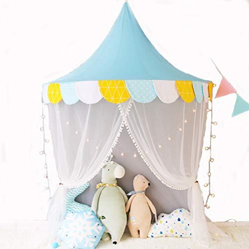 Nlatas Ciels de lit, Lit pour Enfant Auvent en Forme de Demi-Lune Tente de Jeu en Moustiquaire en Coton Idéal pour bébé Intérieur Lecture en Plein air Chambre à Coucher,Blue,1.5m