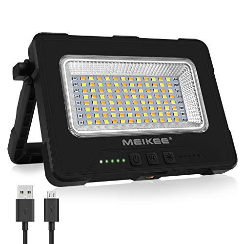 MEIKEE Luz de Trabajo LED Recargable Lámpara LED Portátil 1000 Lúmen Luz Exterior a Prueba de Agua Batería Interna 12000mAh 3 Colores y 5 Brillo Iluminación para Trabajo, Acampadas, Emergencia
