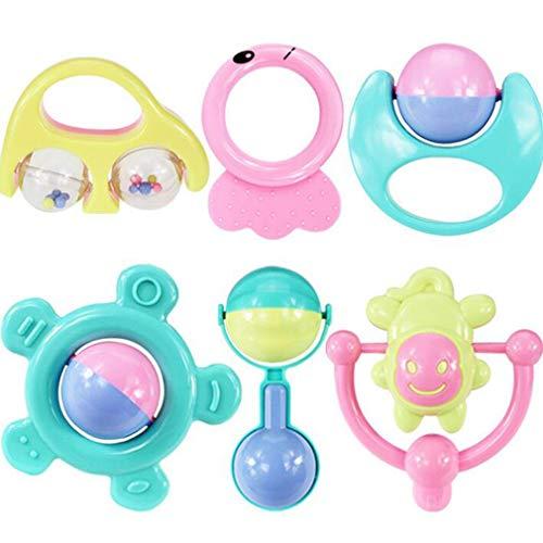 6st Rammelaar Bijtring Babyspeelgoed Schudgreep Baby Hand Ratt (Meerkleurig)