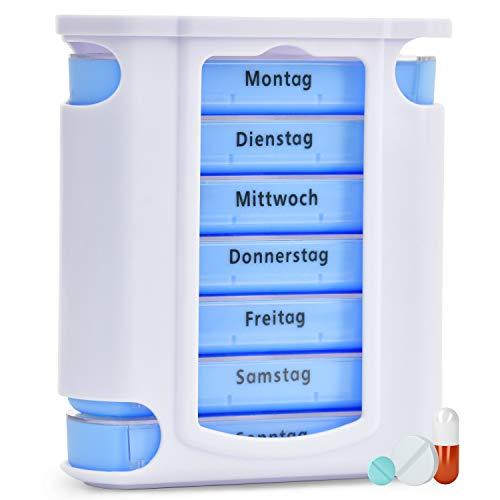 Pillenbox | Premium Pillendose für 7 Tage - 1 Woche | Tablettendose Tablettenbox Wochendispenser Medikamentendose zur Aufbewahrung von Tabletten für Morgens Mittags Abends für Zuhause & Unterwegs