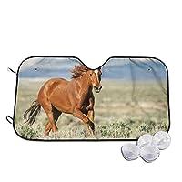 動物の馬 サンシェード カーサンシェード 車用遮光カーテン 折りたたみ 日よけ 紫外線対策 遮光 断熱 軽量 耐久性 汎用 車用サンシェード 簡単着脱