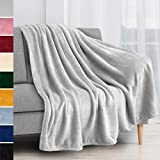 PAVILIA Fleece Blanket Throw | Super Soft, Plush, Luxury Flannel Throw | Lightweight Microfiber Blanket for Sofa Couch Bed (Light Grey, 50x60 inches)