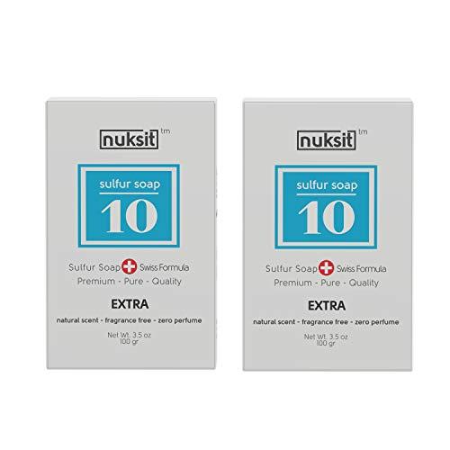 Nuksit 10%-Schwefel Seife 10% Sulfur Soap ideal für problematische Haut unreine Haut, Pickel und Mitesser,Fußgeruch,für Körper und Gesicht 2pack