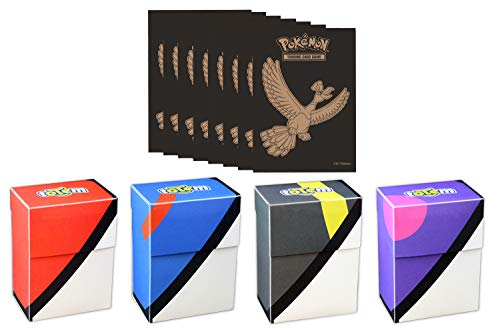 Totem World Pokeball Deck Box with 65 Pokemon Sleeves from Elite Trainer Box for Pokemon Cards (Shining Ho-Oh) image