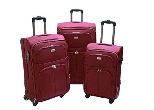 set 4 valigie trolley Trolley valigia set valigie semirigide set bagagli in tessuto super leggeri 4 ruote piroettanti trolley piccolo adatto per cabina con compagnie lowcost art.214 (Bordò)