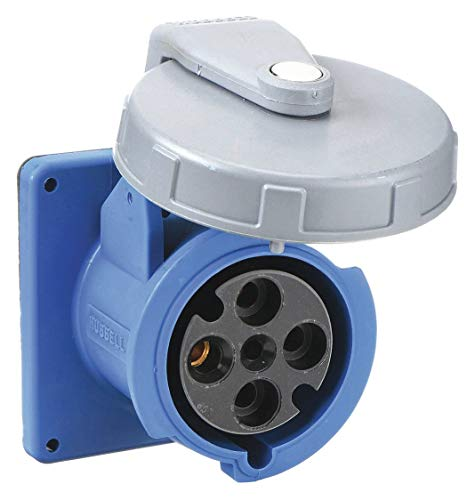 Hubbell Wiring Device-KELLEMS 60 Amp, 3-Phase Zytel 101 Nylon Watertight Pin and Sleeve Receptacle, Blue