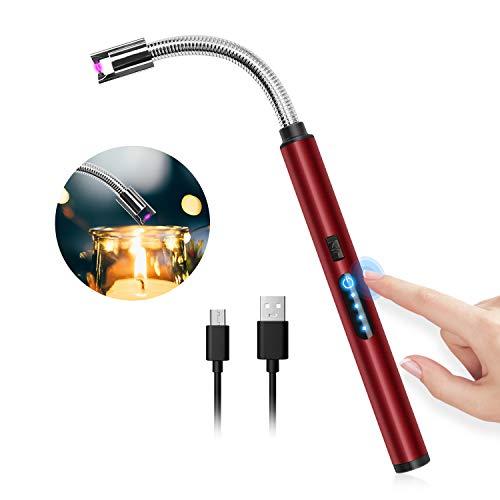 HOTERB Accendino Elettrico USB,Accendigas Elettrico Cucina Accendigas Ricaricabile,Indicatore di Batteria,Sensibile Accendigas Elettronico per Accendere Le Candele Sigarette,Barbecu,Rosso