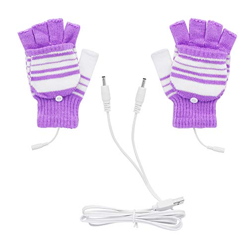 PNGKNYOCN USB Electric Gloves Winter Warm Gloves Heating Fever Gloves dual purpose thin finger and fingerless convertible for Skiing/Outdoor Sports/Winter Warmth(purple)