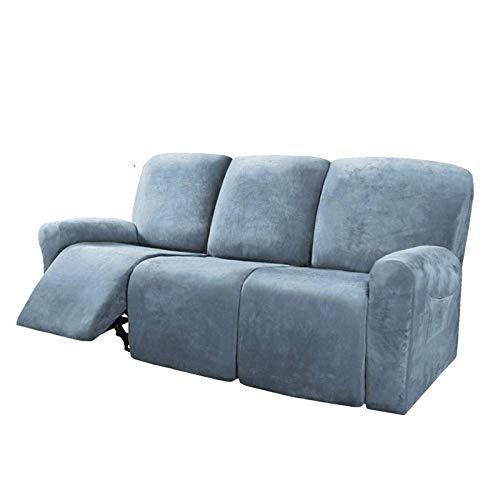 Honeyhouse Funda reclinable para 3 plazas, 8 piezas de microfibra elástica para sofá reclinable seccional, funda suave de forro polar ajustable protector de muebles lavable con elasticidad para niños