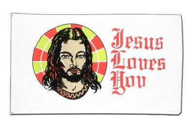 Jesus Loves You Flagge, katholische Fahne 90 x 150 cm, MaxFlags®