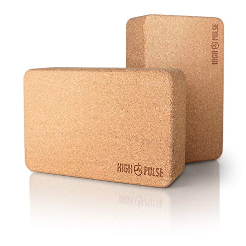 High Pulse Yoga Block Corcho (2 Bloques) – Yoga Block de Calidad para ayudarse en la práctica de Yoga o Pilates y Conseguir Mayor flexibilidad