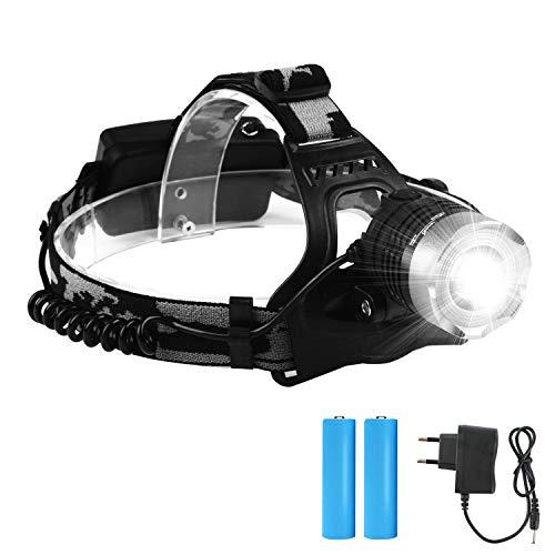 ChenYi Linterna Frontal LED, Súper Brillante 1800 Lúmenes, Linterna Frontal Recargable con 3 Modos, 90°Giratorio y con Zoom, Linterna Impermeable Totalmente Metálica
