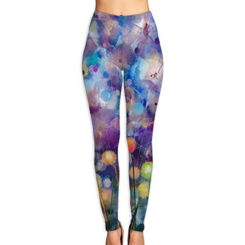 Ewtretr Mujer Pantalones de Yoga Pantalones Deportivos, Colored Petal Cloudy Printed Leggings Full-Length Yoga Workout Leggings Pants