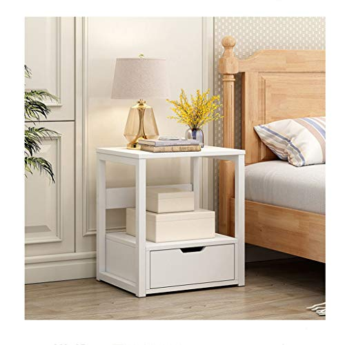 Goldweather【US Stock】Portable Night Stand with Drawers | Modern Simple End Table with Storage Shelf | Bedside Corner Sofa Side Table for Living Room Bedroom, Home Office Furniture (1Pcs, White)