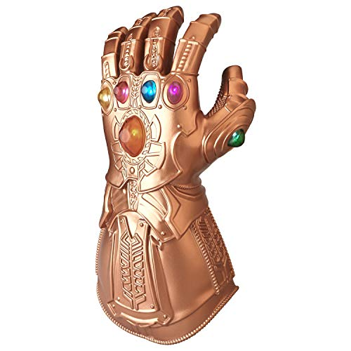 ZealBoom Infinity War Thanos Gauntlet for Adult, LED Light Up Glove Cosplay Costume Props Accessories Gold,34cm15cm
