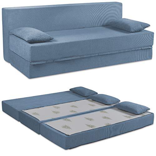 Baldiflex Sofá Cama de 3Plazas Espuma viscoelastica, Modelo Tetris. Confortable Funda extraíble y Lavable. Color Jeans.