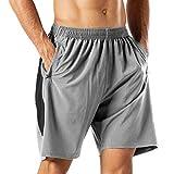 HMIYA Pantaloncini Sportivi da Uomo Running Shorts con Tasca con Zip per Jogging Fitness (...