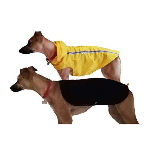 Brissa España. Chubasquero Perro Grande Mediano (Longitud Cuerpo 60 cm). Impermeable Perro con Capucha y Forro de Quita y pon de Borreguillo. Hecho en España. (Amarillo)