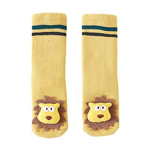 Lsgepavilion Calcetines de invierno cálidos, 1 par de calcetines de invierno para otoño y invierno, suaves y gruesos, antideslizantes para el piso del bebé, regalo para Navidad, amarillo S