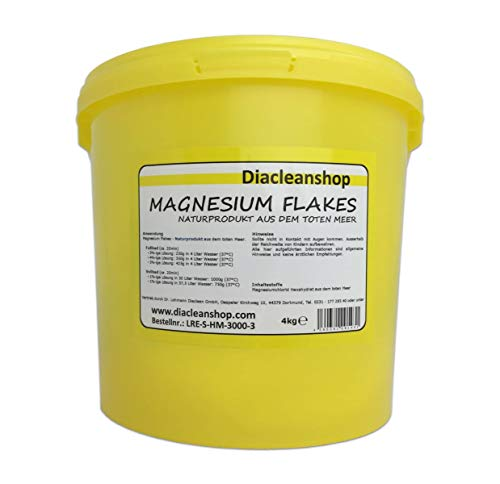 Magnesium Flakes aus dem Toten Meer 4kg – Magnesiumkristalle aus Magnesiumchlorid – 100% Naturprodukt - u.a. zur Herstellung von Magnesiumöl, Magnesium Spray, Magnesium Fußbad, Magnesium Vollbad uvm