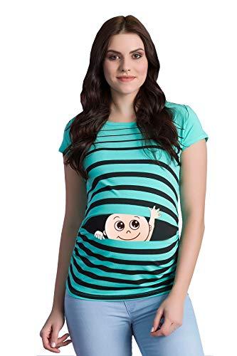 Winke Winke Baby - Lustige witzige süße Umstandsmode gestreiftes Umstandsshirt mit Motiv für die Schwangerschaft Schwangerschaftsshirt, Kurzarm (Mint, Medium)