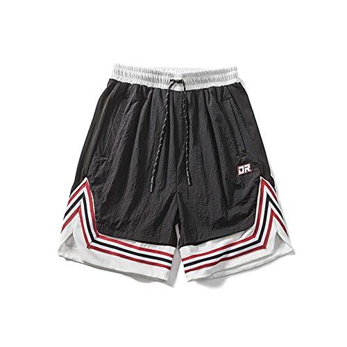 BWCX Los Pantalones Cortos De Los Hombres Malla Los Pantalones Cortos Deportivos De Costura De La Raya Casual Respirable,Negro,S