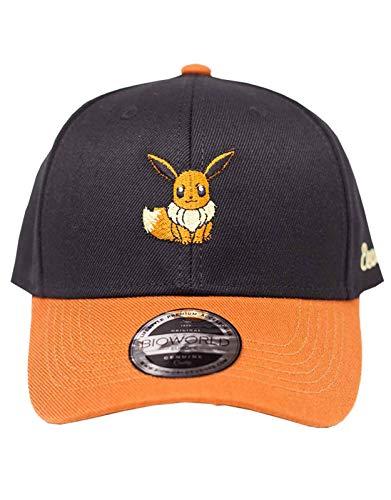 Difuzed Unisex Pokemon Embroidered Eevee Curved Bill, Black/Orange (BA130906POK) Baseball Cap, Schwarz (Schwarz Schwarz), One Size
