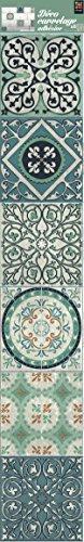 Plage Smooth - Tiles Fliesen Sticker Zementfliesen Evora [6 Bogen 15 x 15 cm x 5.90'' ], Vinyl, Green, 15 x 0,1 x 15 cm