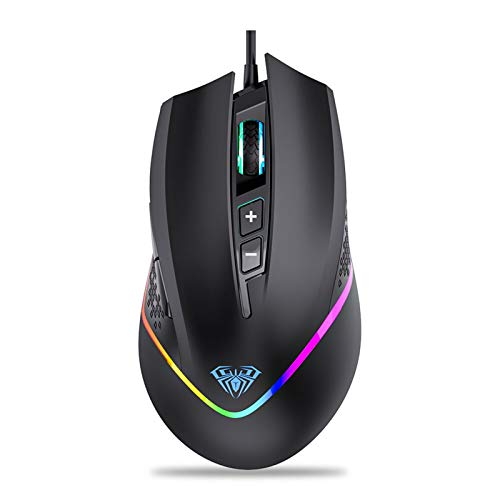 AULA F805 RGB Gaming Mouse Wired, with Side Buttons Programmable, 6400 DPI Adjustable, RGB LED Backlight, Comfortable Ergonomic Optical Grip PC Computer Mice for Games & Work (Black)