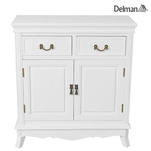 Delman Sideboard weiß Holz Landhaus-Stil Kommode 2-türig mit 2 Schubladen Schubladenkommode Anrichte 75x32x81cm 01-0005 (Weiß)