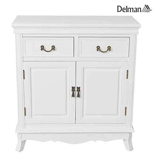 Delman dressoir wit hout landelijke stijl commode 2-deurs met 2 laden ladecommode dressoir 75x32x81cm 01-0005 (wit)