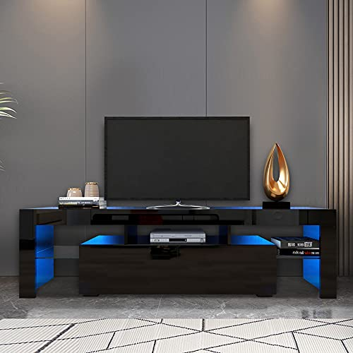 Black TV Stand for 70 Inch TV Entertainment Center Stand LED TV Stand...