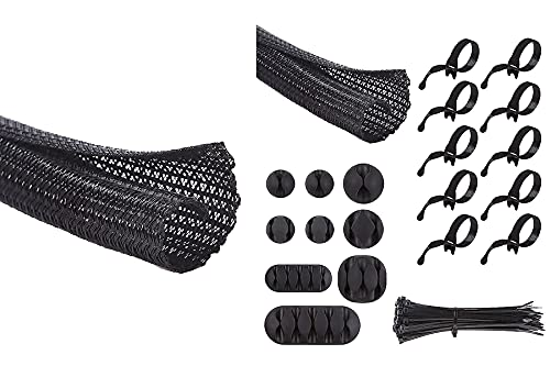 Alex Tech 25ft - 1/4 inch and 10ft - 1/2 inch Split Sleeving, 9 pieces Cable Clips, 10 pieces Reusable Cable Ties, 50 pieces 8 inch Nylon Cable Ties for Computer Home Office - Black