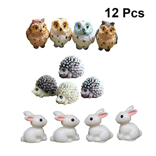 Yardwe 12 pz Mini Gufi in Resina Mini Ornamento Chic Creativo Elegante Micro Paesaggio Decorazione Riccio Coniglio Ornamento Mini Modello Micro Paesaggio Animale Ornamento per Giardino fatato
