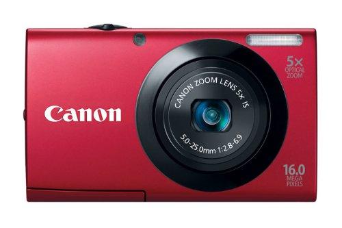 Canon PowerShot A3400 IS Digitalkamera (16 MP, 5-fach opt. Zoom, 7,6cm (3 Zoll) Touch-Display, bildstabilisiert) rot