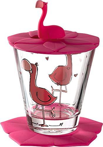 Leonardo Bambini Kinder-Glas 1 Stück, Glas-Becher mit Tier-Motiv Flamingo, Deckel Untersetzer BPA-frei, spülmaschinengeeignet, 3teilig 215 ml 034798