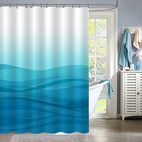 MitoVilla Light Blue Ombre Shower Curtain Set with Hooks, Modern Simple Gradual Color Design Abstract Sea Ocean Wave Striped Bathroom Decor, Blue, 72' W x 78' L Long