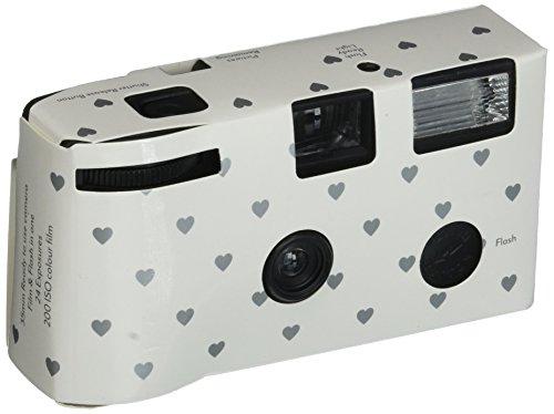 Single Use Camera - Silver Hearts Design - White