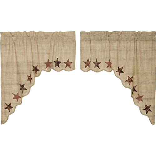 VHC Brands Primitive Classic Country Kitchen Window Curtains - Abilene Star Tan Swag Pair