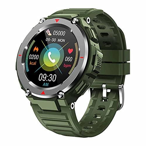 XHJL Relojes Inteligentes, FitnessTracker Sleep Heart Rate Monitor Reloj de Fitness para Hombres Mujeres Podómetro Cronómetro Deportes al Aire Libre Reloj Inteligente para Android/iOS (Army Green)