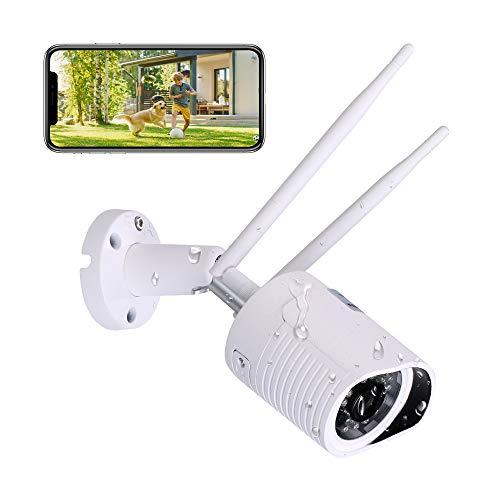 Hikam A7(Seconda Generazione): La fotocamera per la sicurezza della Casa (Fotocamera Wireless IP HD per esterni, IP66,con app in tedesco/Istruzioni (lingua italiana non garantita)/Supporto)