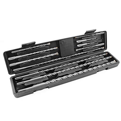 Lange metselwerkboren Set YG8C-legering 40Cr stalen boorbeitels voor boorhamer Boren Betonsteen Draai-kop 11 stuks