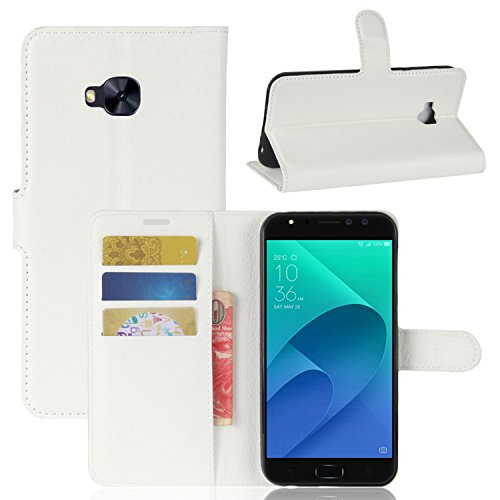 Tasche für Asus Zenfone 4 Selfie Pro ZD552KL Hülle , Ycloud PU Kunstleder Ledertasche Flip Cover Wallet Hülle Handyhülle mit Stand Function Credit Card Slots Bookstyle Purse Design weiß