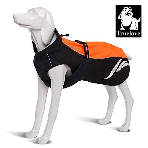N&F Truelove Waterproof Reflective Stripe Dog Coat Vest Outdoor Walking Dog Raincoat Nylon Pet Jacket for All Weather Breed in Stock 45cm-17.7in-Length Orange
