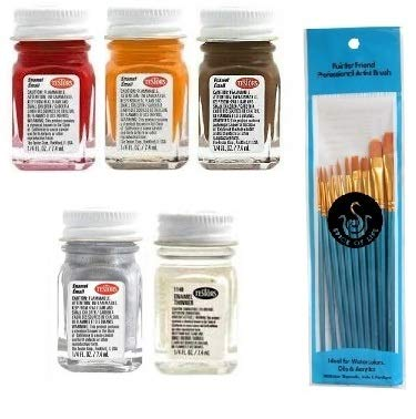 Testors Enamel Paint Automotive Variety, Spotlight Red, Turn Signal Amber, Flat Rubber, Gloss Metallic Silver, and Thinner, 1/4 fl oz (Pack of 5) - with Spice of Life Paint Brush Set